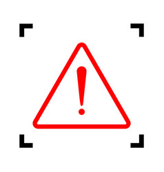 exclamation danger sign flat style red vector image