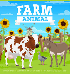 Farm animals agriculture gardening and farming vector