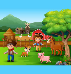 farm scenes with different animals and farmers in vector image