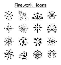 Firework firecracker icon set vector
