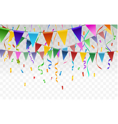 Flags and confetti garlands on transparent vector