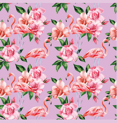 Flamingo rose flowers pink color seamless pattern vector