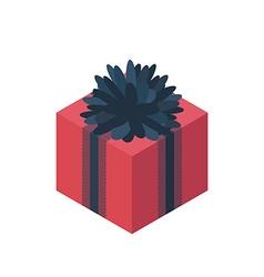 Flat isometric gift box icon vector image