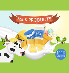Fresh dairy products concept banner poster vector