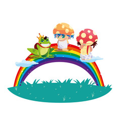 Fungus elfs and toad prince with rainbow magic vector