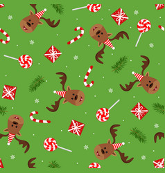 funne deer with hat seamless winter pattern with vector image