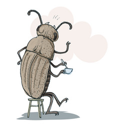 Funny beetle drinking tea vector
