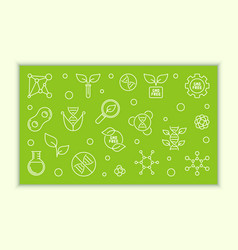 gmo free horizontal banner in outline style vector image