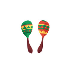green and red cartoon maracas - colorful mexican vector image