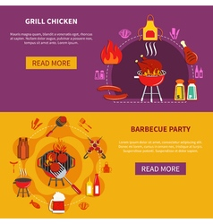 Grill Chiken On Barbecue Party Flat vector