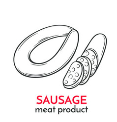 Hand drawn sausage icon vector