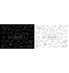 handdrawn doodle arrows line icon set hand drawn vector image