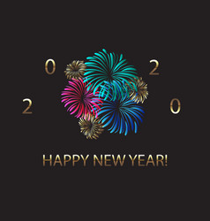 happy new year 2020 fireworks and golden design vector image