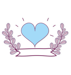 Heart with plants branches and ribbon vector