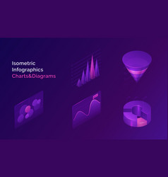 isometric infographics charts and diagrams set vector image