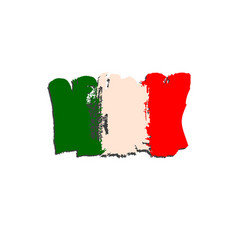 italian flag painted by brush hand paints vector image