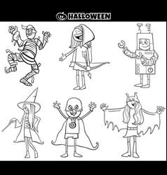 Kids in halloween costumes set cartoon coloring vector