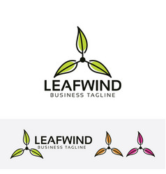 Leaf wind logo design vector