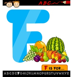 Letter f with fruits cartoon vector