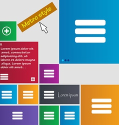 List menu Content view options icon sign Metro vector image