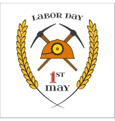 May 1st Labor Day Crossed picks and helmet vector