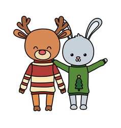 merry christmas celebration cute rabbit and deer vector image