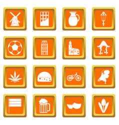 Netherlands icons set orange vector