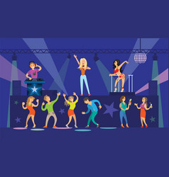 nightclub clubbing people with drinks dancing vector image