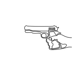 One line drawing hand holding pistol vector