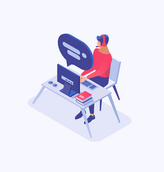 Online assistant isometric color vector