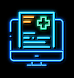 Online receipt neon glow icon vector