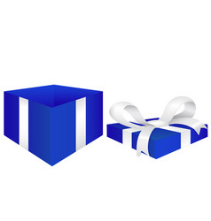 Open gift box blue box with red silk ribbon vector
