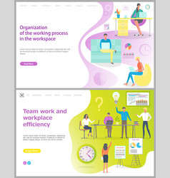 organization of working process in workplace set vector image