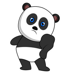 panda with blue eyes on white background vector image
