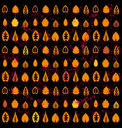 pattern of orange leaves on black background eco vector image