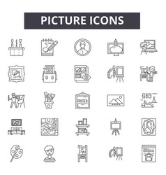 picture line icons signs set outline vector image