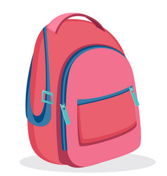 Pink backpack for school modern rucksack vector