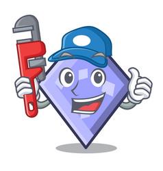 Plumber rhombus mascot cartoon style vector