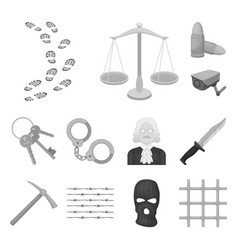 Prison and the criminal monochrome icons in set vector