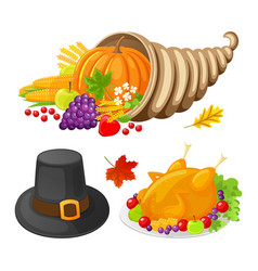 pumpkin and turkey cooked meat icons set vector image