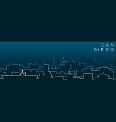 san diego multiple lines skyline and landmarks vector image