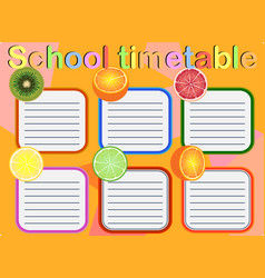 School timetable for students vector