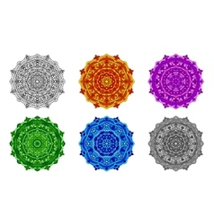 set mandala different colors vector image