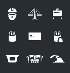 set of china bridge construction icons vector image