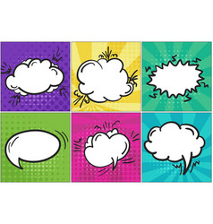 set of colorful cartoon retro comic speech bubbles vector image