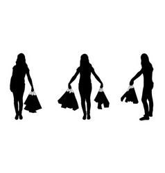 set of different women with bags isolated on white vector image