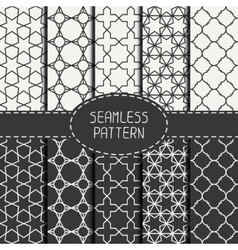 Set of geometric monochrome lattice seamless vector image