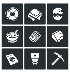 Set of Homeless Icons Help Homelessness vector