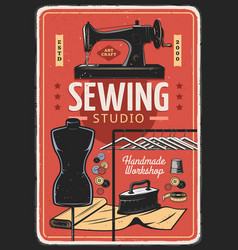 Sewing tailor and dressmaking handmade workshop vector