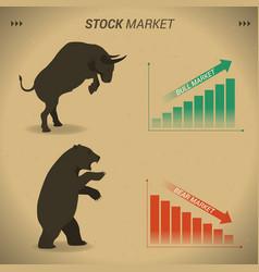 Stock market concept bull vs bear are facing and vector
